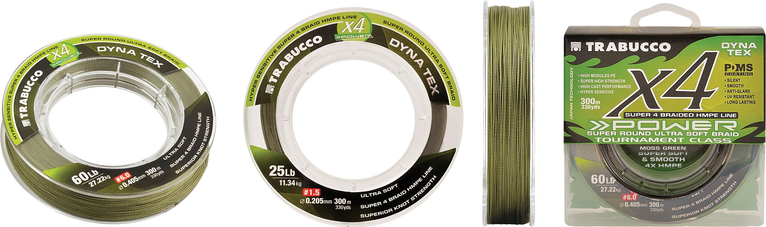Trabucco Dyna Tex X4 Power 300m 0.285mm MOSS GREEN