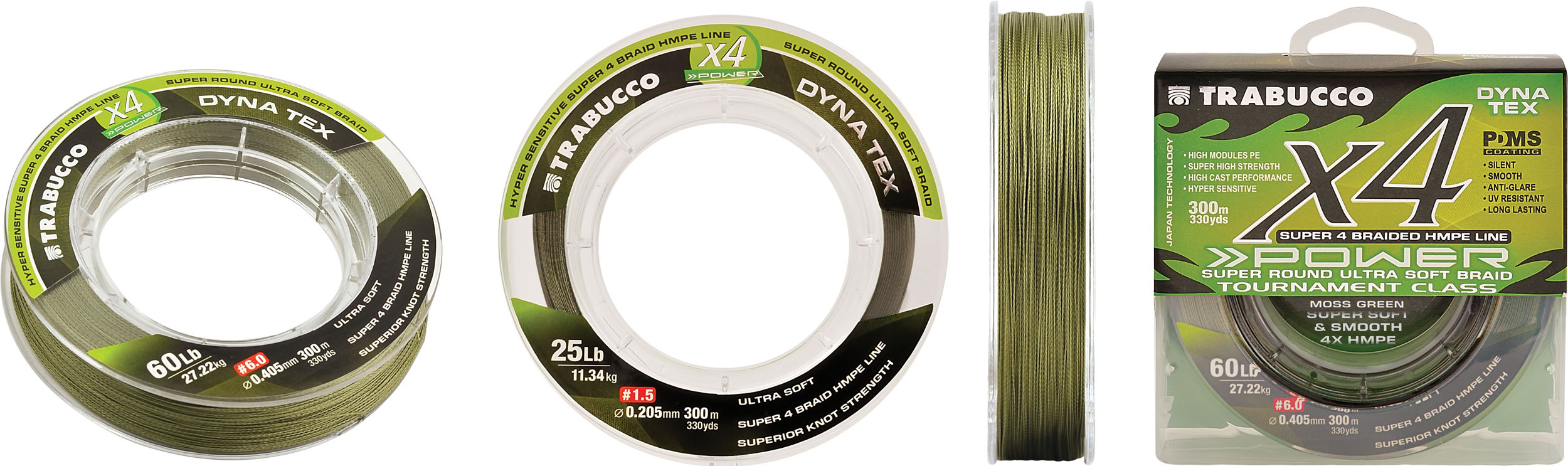 Trabucco Dyna Tex X4 Power 300m 0.370mm MOSS GREEN