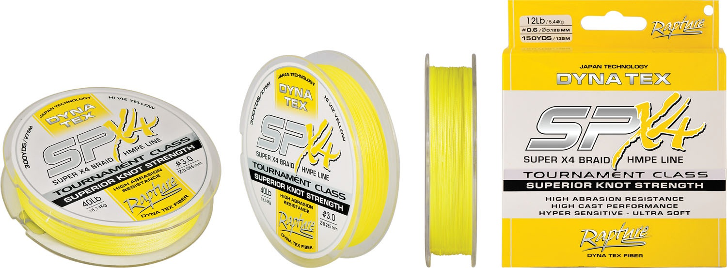 Rapture Dyna Tex Spin SP-X4 HV YELLOW 270m 0.185mm